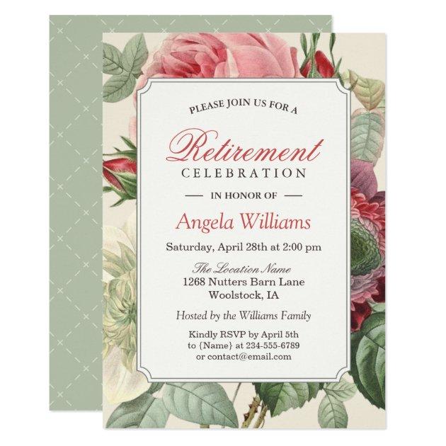 Vintage Botanical Floral Elegant Retirement Party Card