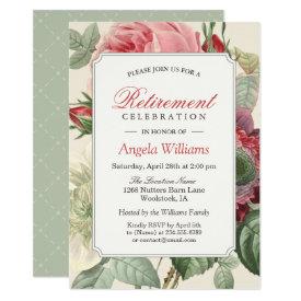 Vintage Botanical Floral Elegant Retirement Party Invitation