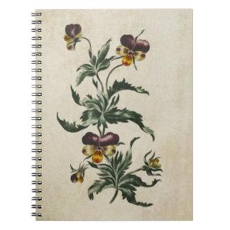 Vintage Botanical Floral Hearts Ease Illustration Notebook