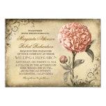 vintage botanical floral - pink peony wedding card