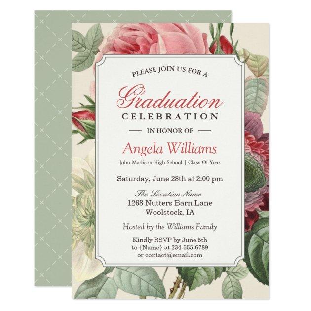 Vintage Botanical Floral Senior Graduation Party Card