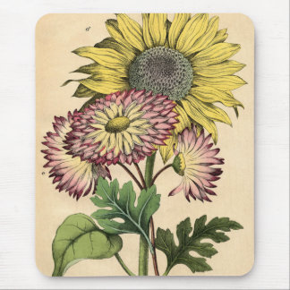Vintage Botanical Floral Sunflower & Fig-Marigold Mouse Pad