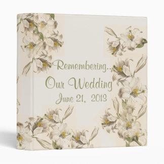 Vintage Botanical Flower Art Wedding Memories Book Binder