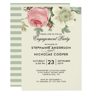 Vintage botanical flower engagement party invite