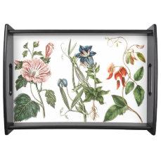 Vintage Botanical Flowers Floral Garden Serving Tray