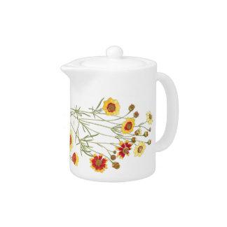 Vintage Botanical Flowers Floral Garden Teapot