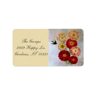 Vintage Botanical Flowers Swallow Bird Rustic Blue Address Label