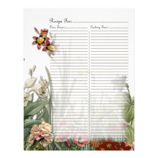 Vintage Botanical Garden Flowers Recipe Page