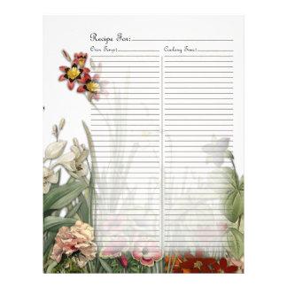 Vintage Botanical Garden Flowers Recipe Page Letterhead