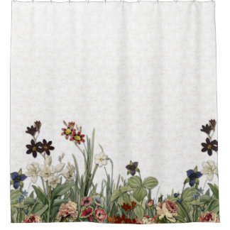 Vintage Botanical Garden Flowers - Shower Curtain