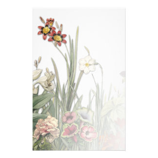 Vintage Botanical Garden Flowers Stationary Stationery