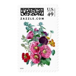 Vintage Botanical Hollyhocks Stamps