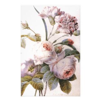 vintage botanical illustration, pink rose stationery