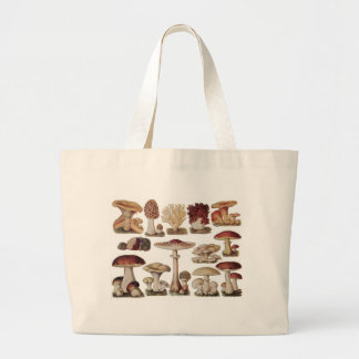 Vintage Botanical Mushrooms Canvas Bag