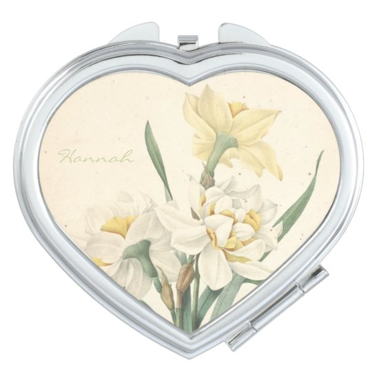 Vintage Botanical Narcissus Personalized Mirror