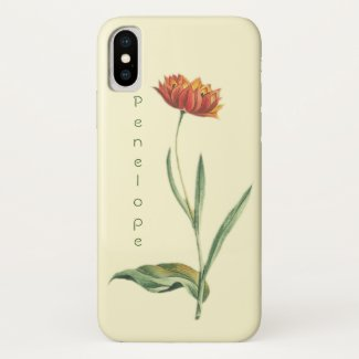 Vintage Botanical Orange Tulip Flower with Name Case-Mate iPhone Case