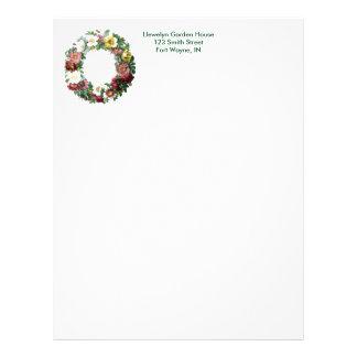 Vintage Botanical Page - Floral Wreath Letterhead