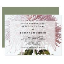 vintage botanical pink mum wedding invitation