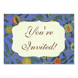 Vintage Botanical Pomegranate Pattern Wallpaper 4.5x6.25 Paper Invitation Card