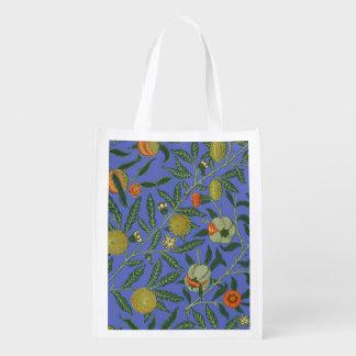 Vintage Botanical Pomegranate Pattern Wallpaper Reusable Grocery Bag