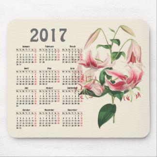 vintage botanical print 2017 calendar mouse pad
