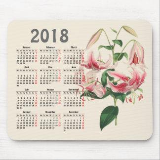 vintage botanical print 2018 calendar mouse pad