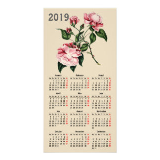 vintage botanical print 2019 calendar card