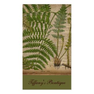 vintage botanical print leaves pattern fern business card