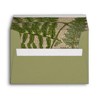 vintage botanical print leaves pattern fern envelope
