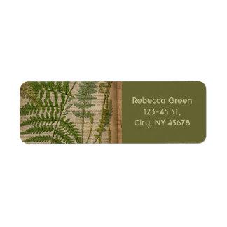 vintage botanical print leaves pattern fern return address label