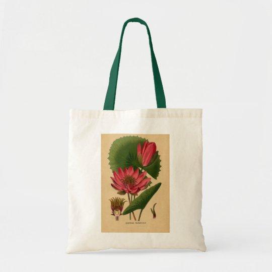 Vintage Botanical Print Pink Water Lily Lotus Tote Bag