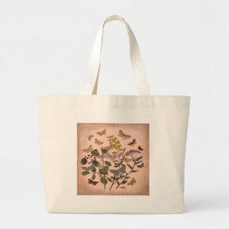 Vintage Botanical Prints Wildflowers Butterflies Large Tote Bag