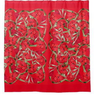 vintage botanical red gladiola flowers floral shower curtain