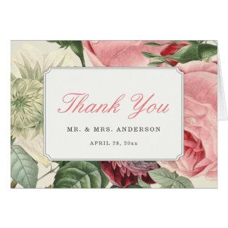 Vintage Botanical Rose Floral Elegant Thank You Card