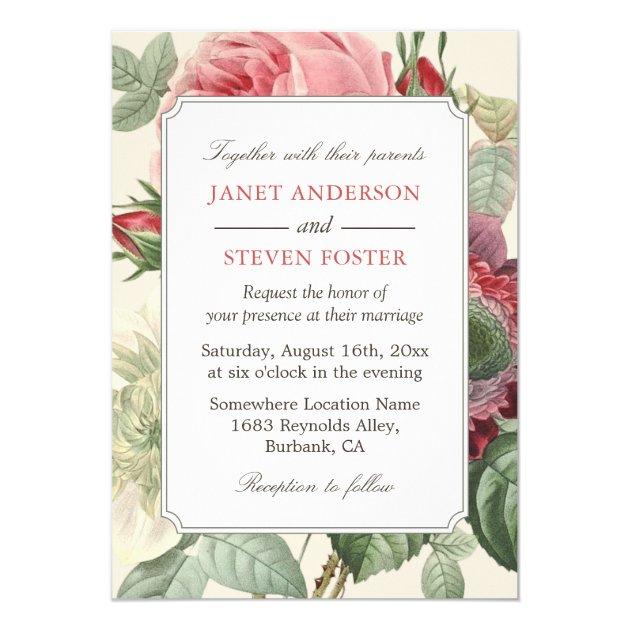 Vintage Botanical Rose Floral Elegant Wedding Card (back side)