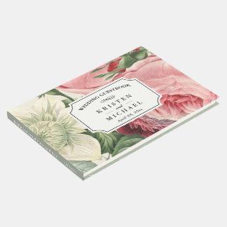 Vintage Botanical Rose Floral Elegant Wedding Guest Book