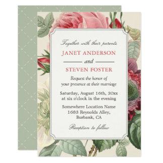 Vintage Botanical Rose Floral Elegant Wedding Invitation