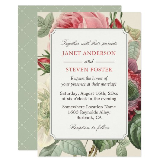 Vintage Botanical Rose Floral Elegant Wedding Invitation