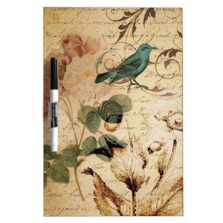 vintage botanical rose teal bird floral girly Dry-Erase whiteboards