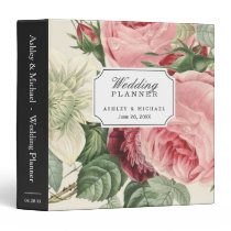 Vintage Botanical Roses Floral Wedding Planner Binder