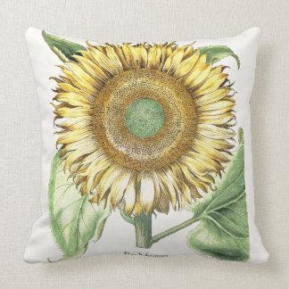 Vintage Botanical Sunflower Flower Floral Throw Pillow