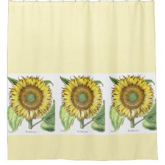 Vintage Botanical Sunflower Flowers Floral Garden Shower Curtain