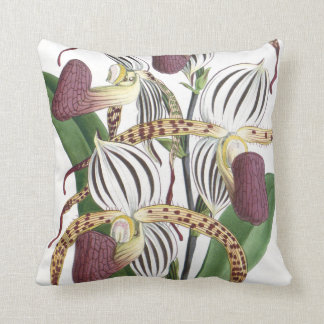 Vintage Botanical Tropical Orchid Flowers Floral Throw Pillow