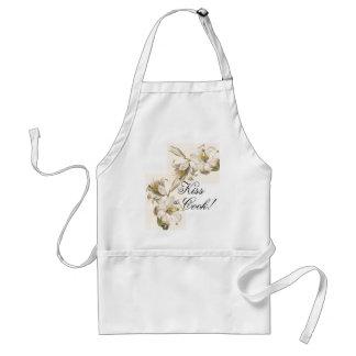 Vintage Botanical White Flowers Kiss/Cook Apron