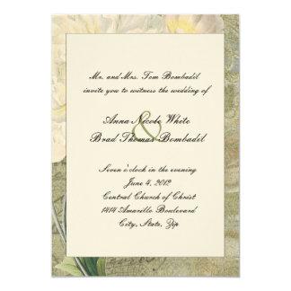 Vintage Botanical White Peony Wedding Invitation