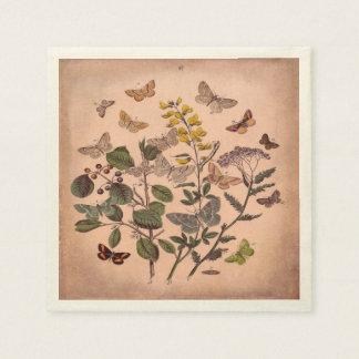 Vintage Botanical Wildflowers Butterflies Floral Napkin