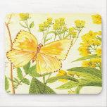 Vintage Botanical Yellow Mouse Pad