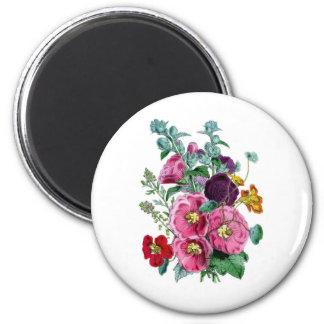 Vintage Botanicals Illustrations Hollyhocks 2 Inch Round Magnet