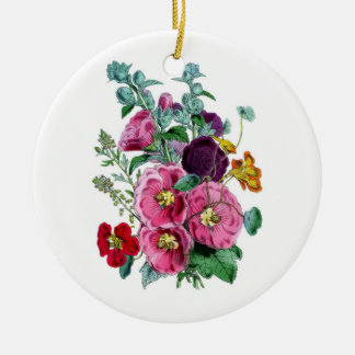Vintage Botanicals Illustrations Hollyhocks Double-Sided Ceramic Round Christmas Ornament