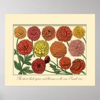 Vintage botánico con verso de la escritura posters